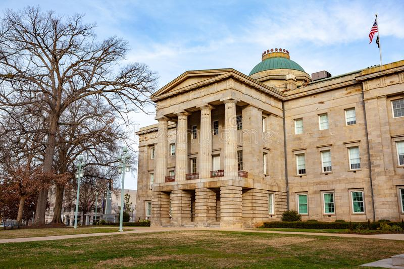 NC Capital Building Raleigh, North Carolina. Raleigh is the capital of the state of North Carolina and the seat of Wake County in the United States. Raleigh is royalty free stock image