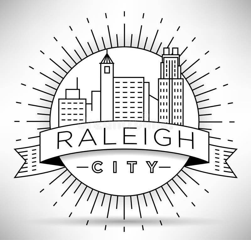 Raleigh Linear City Skyline mínimo con diseño tipográfico ilustración del vector