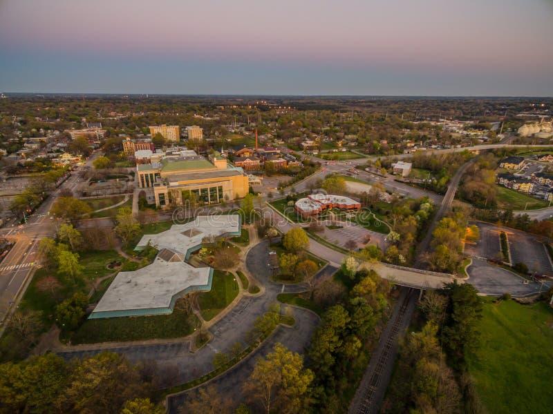 Raleigh, NC al crepuscolo fotografia stock