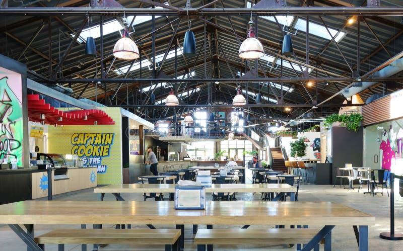 RALEIGH, NC/USA - 05-15-2019: La comida Pasillo de la compañía de la transferencia en Raleigh céntrico NC imágenes de archivo libres de regalías