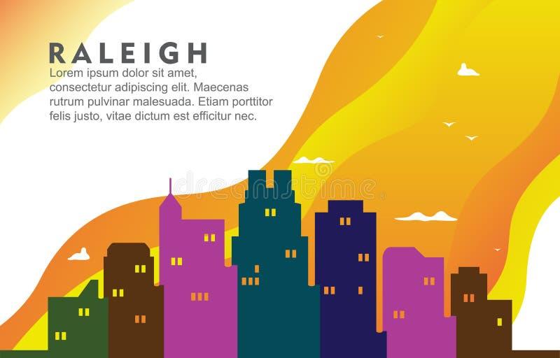 Raleigh North California City Building-Cityscape Horizon Dynamische Illustratie Als achtergrond stock illustratie