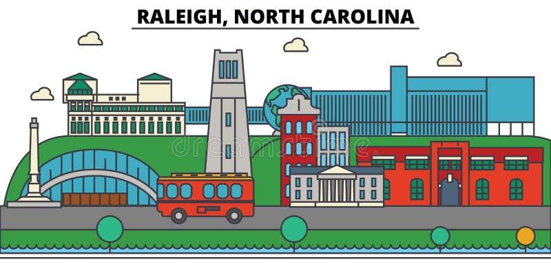 Raleigh, North Carolina Arquitetura da skyline da cidade ilustração do vetor