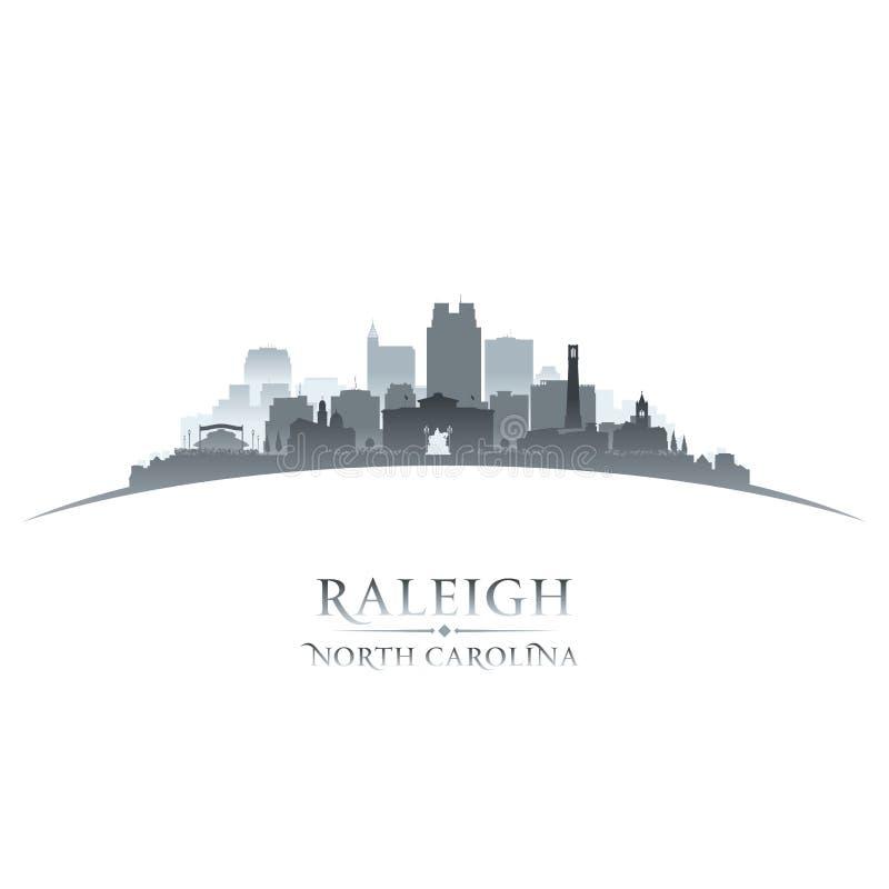 Raleigh North Carolina-de witte achtergrond van het stadssilhouet vector illustratie