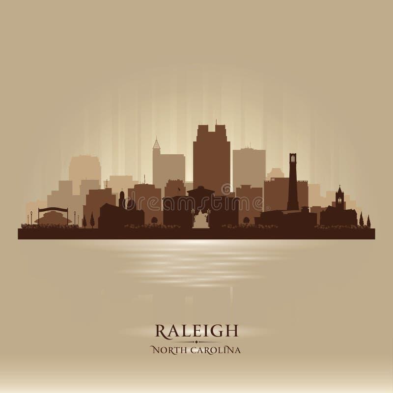 Raleigh North Carolina-het vectorsilhouet van de stadshorizon royalty-vrije illustratie