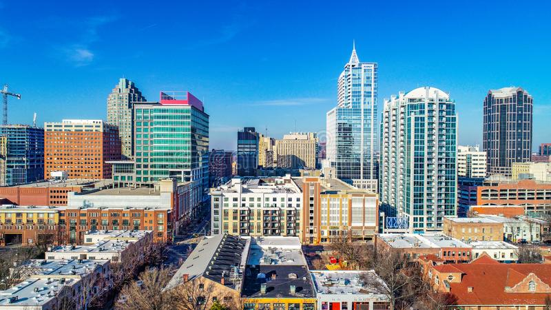 Raleigh North Carolina NC Drone Skyline Aerial. Downtown Raleigh, North Carolina, USA Skyline Aerial stock images