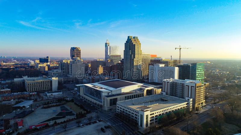 Raleigh, North Carolina, USA Drone Skyline Aerial. Downtown Raleigh, North Carolina, USA Drone Skyline Aerial royalty free stock images
