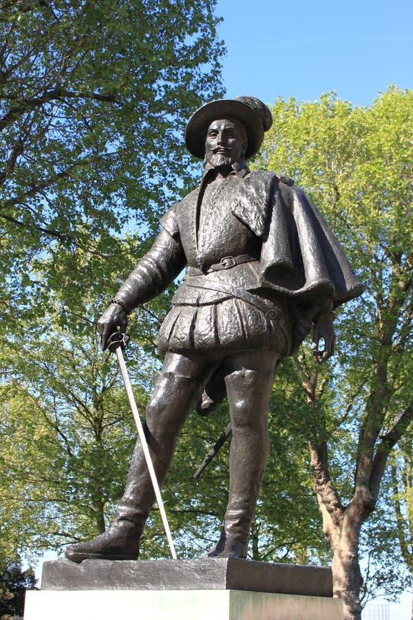 raleigh sir statua Walter obrazy royalty free