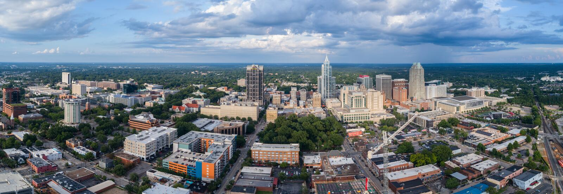 Raleigh Skyline do centro fotografia de stock royalty free