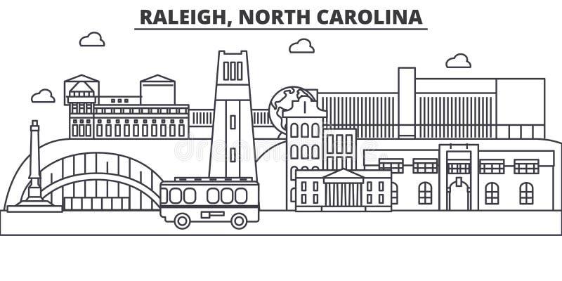Raleigh, van de de architectuurlijn van Noord-Carolina de horizonillustratie Lineaire vectorcityscape met beroemde oriëntatiepunt royalty-vrije illustratie