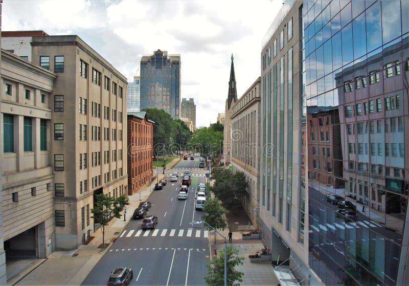 Raleigh van de binnenstad, Noord-Carolina stock fotografie