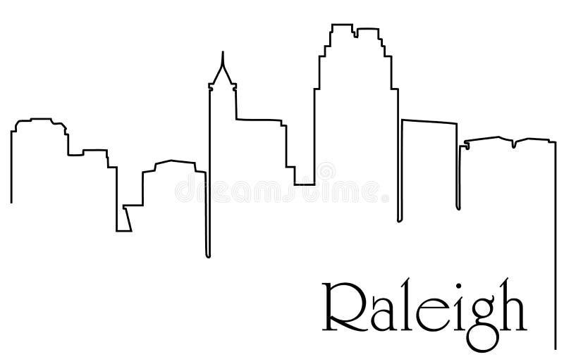 Raleighstad één de abstracte achtergrond van de lijntekening met cityscape royalty-vrije illustratie