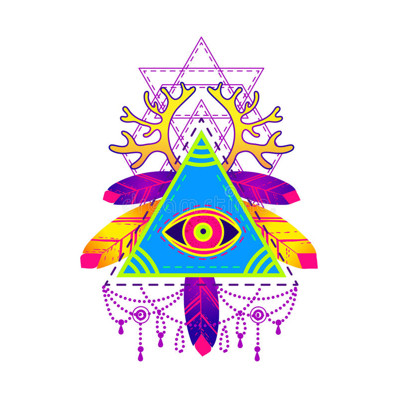 Rall Seeing Eye Pyramid Symbol Stock Vector Illustration Of
