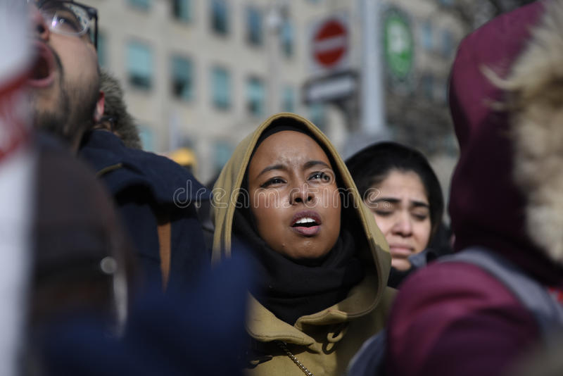 Rally against Donald Trump`s Muslim ban in Toronto. stock images