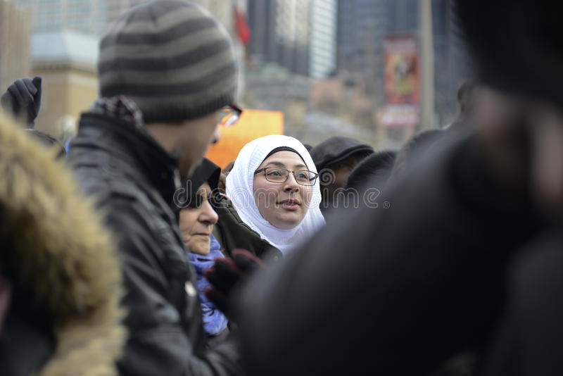 Rally against Donald Trump`s Muslim ban in Toronto. stock photos