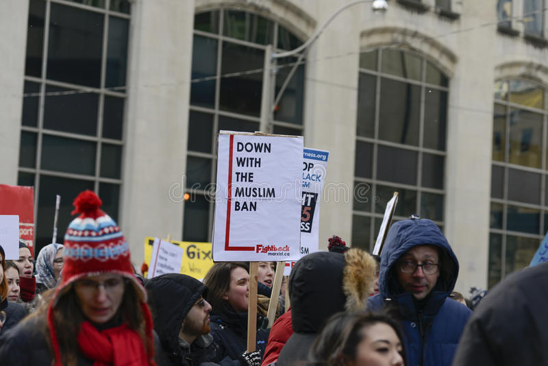 Rally against Donald Trump`s Muslim ban in Toronto. royalty free stock photo