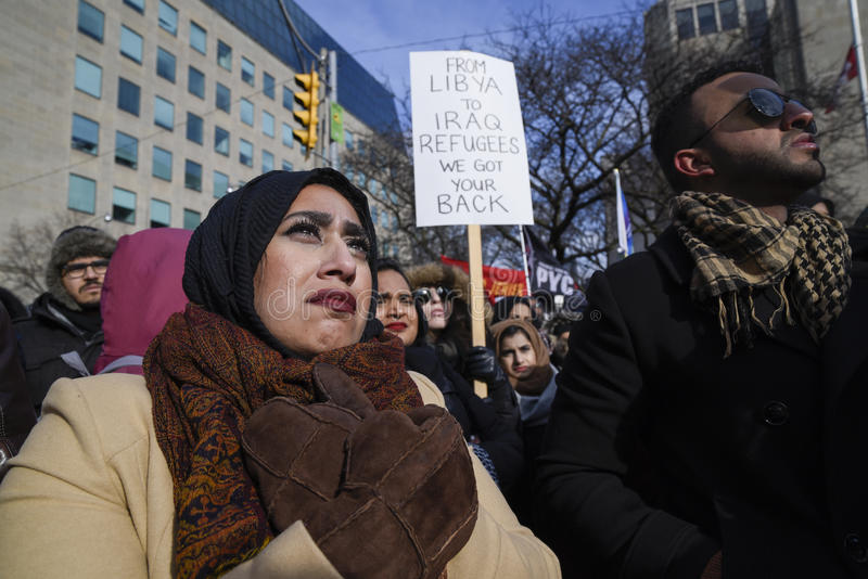 Rally against Donald Trump`s Muslim ban in Toronto. royalty free stock images