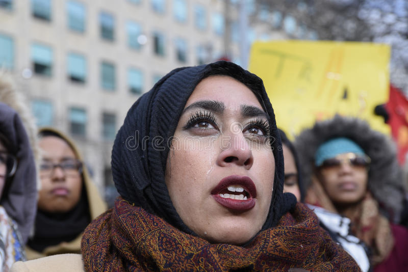 Rally against Donald Trump`s Muslim ban in Toronto. royalty free stock photos