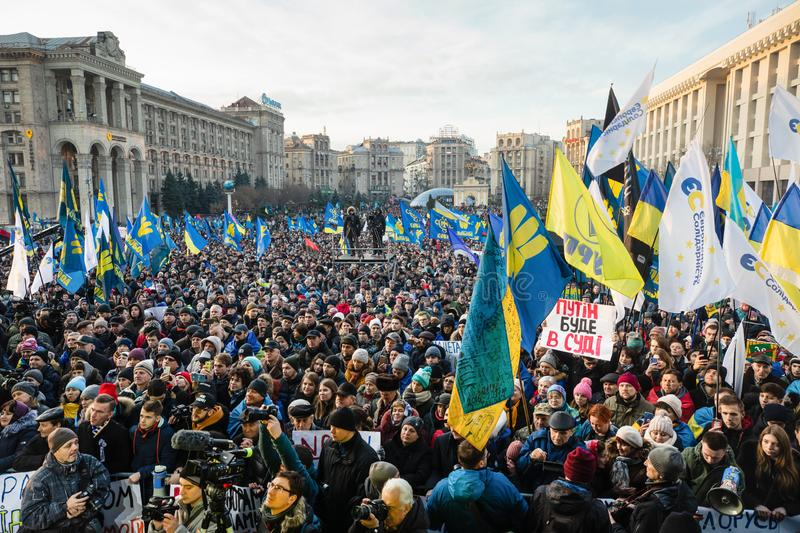 Rally against surrender on the Independence Square in Kyiv stock images