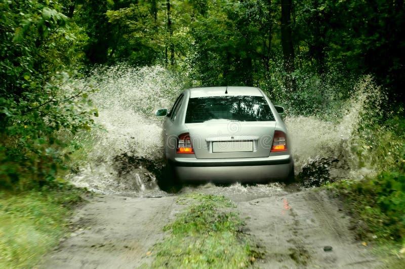 Rally car splashing the water royalty free stock photos