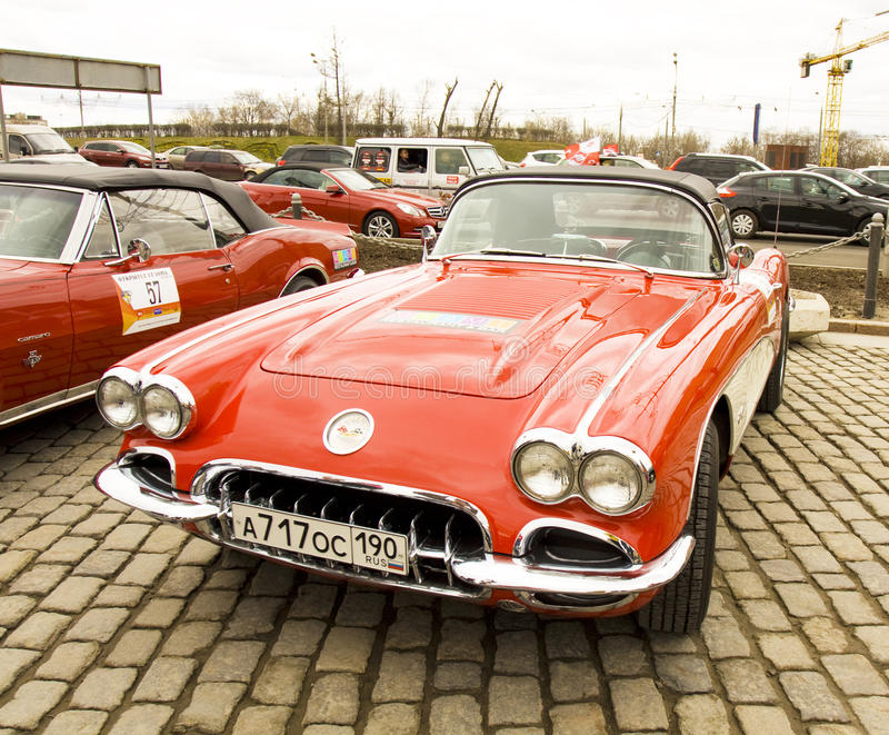 Rally of classical cars, Moscow, Chevrolet corvette stock images