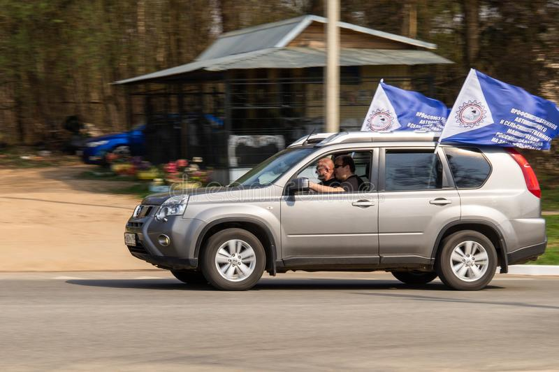 Rally dedicated to the victory in the war of 1941-1945, in the Kaluga region of Russia. On April 27, the city of Medyn of Kaluga region met the participants of stock photo