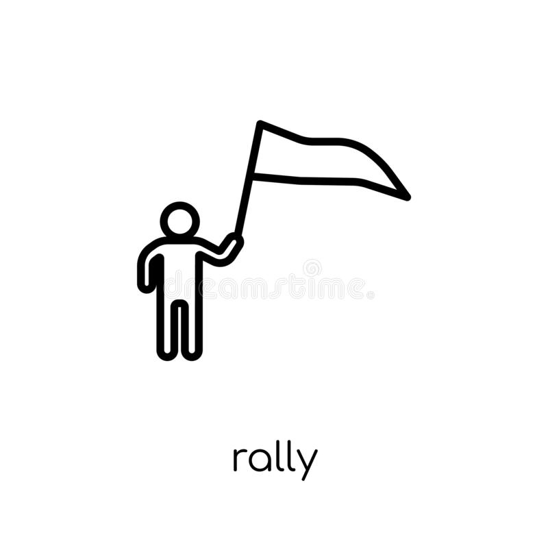 Rally icon. Trendy modern flat linear vector Rally icon on white stock illustration