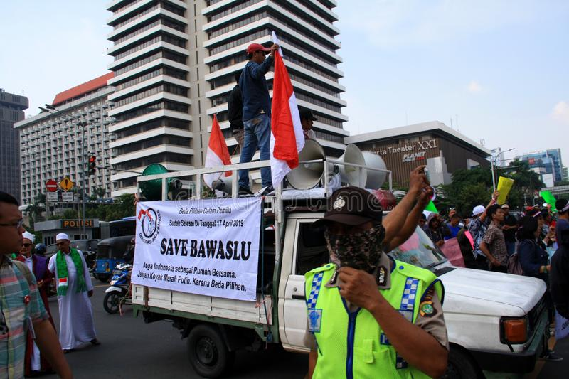 Rally in Jakarta. Jakarta, Indonesia - May 21, 2019: Supporters of KPU`s decision gave speeches at the headquarters of the Election Supervisory Agency Bawaslu on stock photo