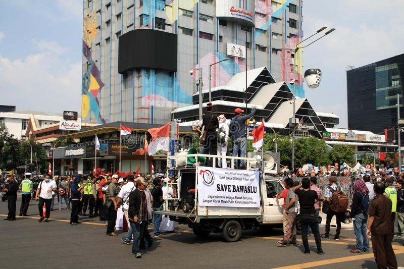 Rally in Jakarta. Jakarta, Indonesia - May 21, 2019: Supporters of KPU`s decision gave speeches at the headquarters of the Election Supervisory Agency Bawaslu on royalty free stock images