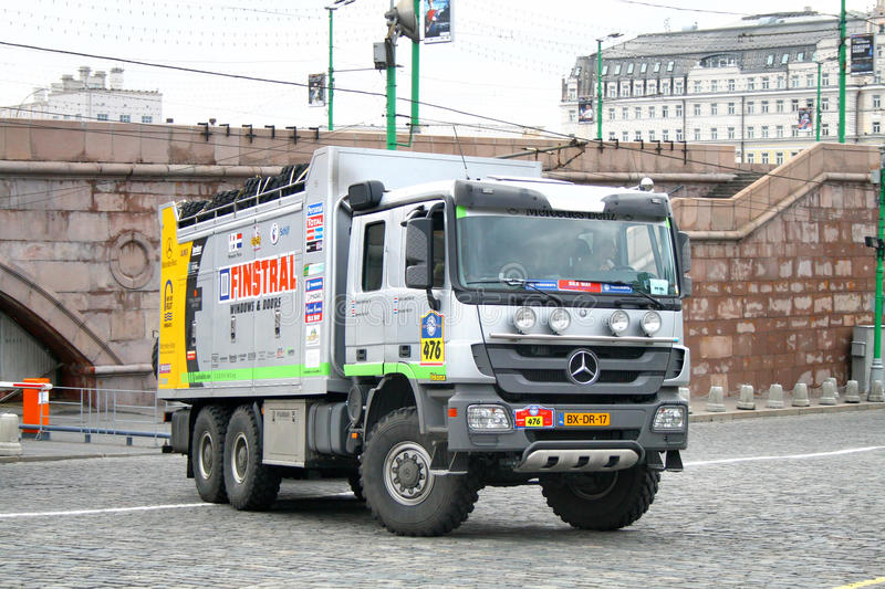 Rally Silkway 2011. Rob van Pelt's Mercedes Axor assistance (No. 476) competes at the annual Rally Silkway - Dakar series on July 10, 2011 on the Red Square royalty free stock photos