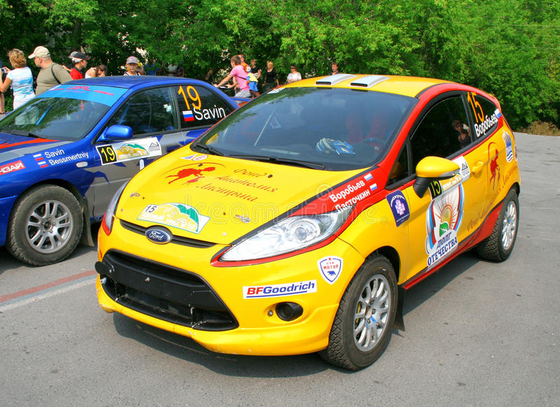 Rally Southern Ural 2010. SATKA, RUSSIA - AUGUST 13: Ivan Vorobyov's Ford Fiesta (No. 15) exhibited at the start of the annual Rally Southern Ural on August 13 royalty free stock images