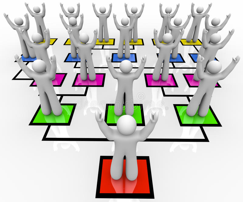 Rallying the Troops - Organization Chart. A leader motivates his workers in an organizational chart vector illustration