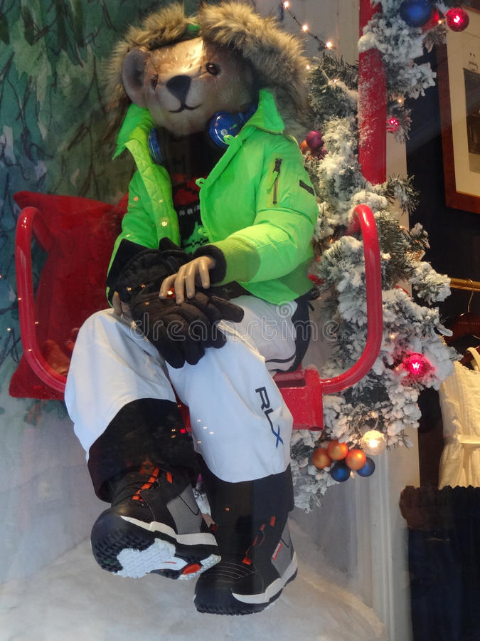 Ralph Lauren Holiday Store Window in New York City. A bear dressed in ski gear in the Ralph Lauren holiday window in Manhattan, New York City stock image