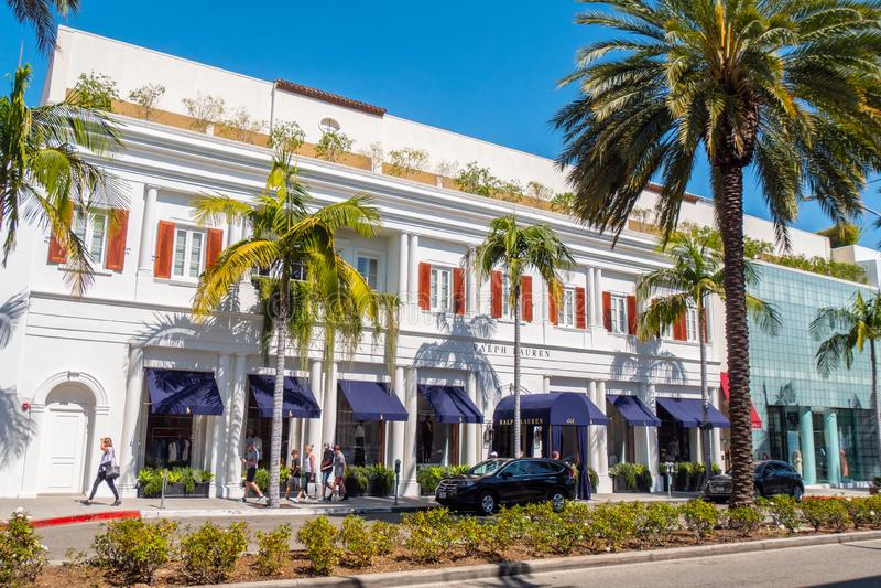 Ralph Lauren lager på Rodeo Drive Beverly Hills - KALIFORNIEN, USA - MARS 18, 2019 arkivbilder