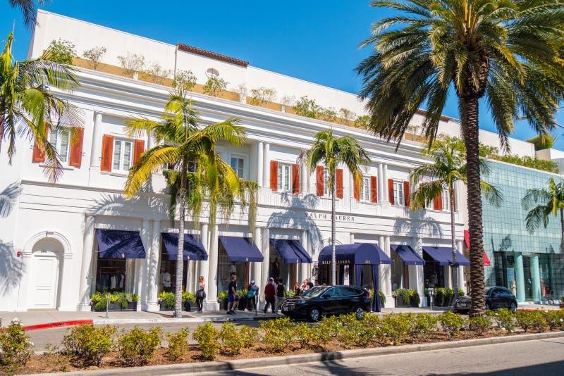 Ralph Lauren lager på Rodeo Drive Beverly Hills - KALIFORNIEN, USA - MARS 18, 2019 royaltyfria bilder