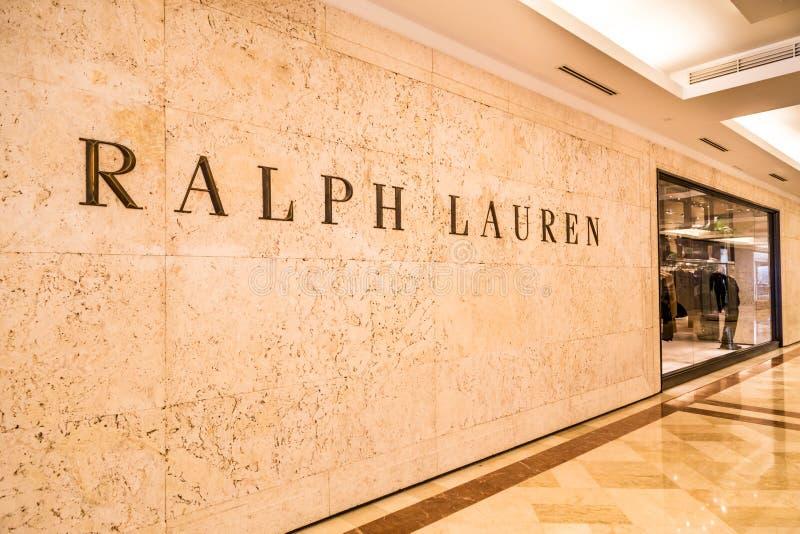 Ralph Lauren-signage op zijn afzet in KLCC Kuala Lumpur stock fotografie