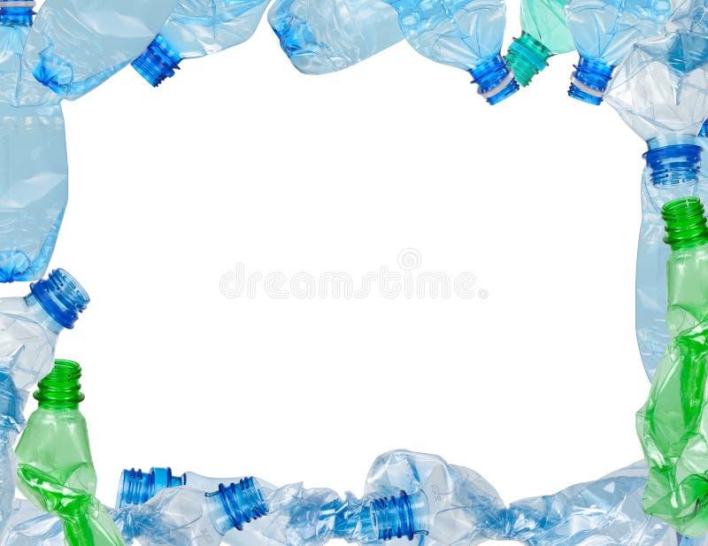 Ram av använda plast- flaskor fotografering för bildbyråer