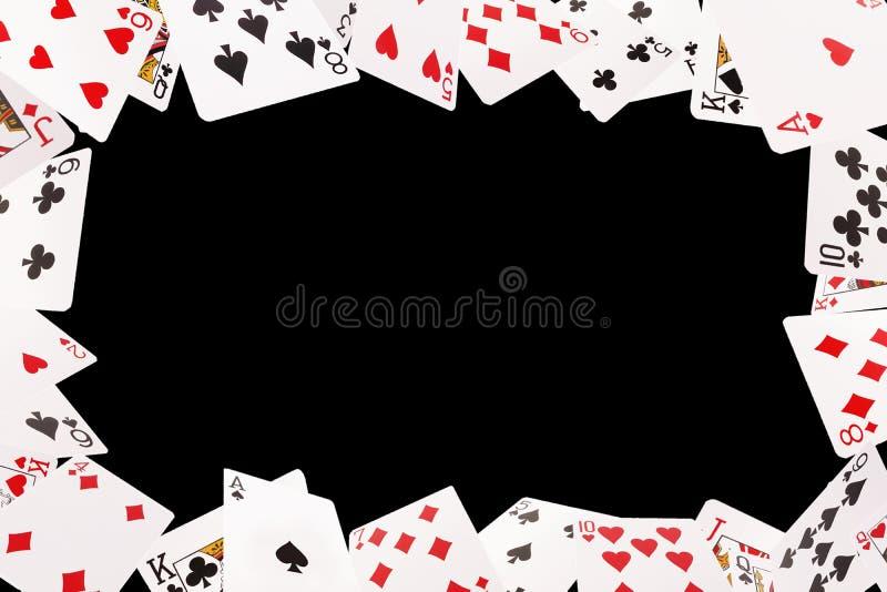 Ram av att spela kort på en svart bakgrund royaltyfri bild
