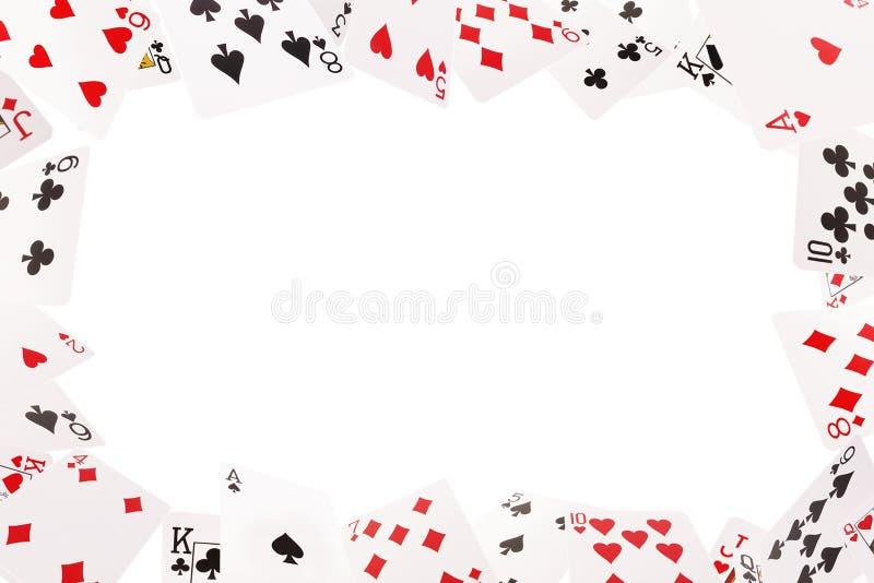 Ram av att spela kort på en vit bakgrund royaltyfria bilder