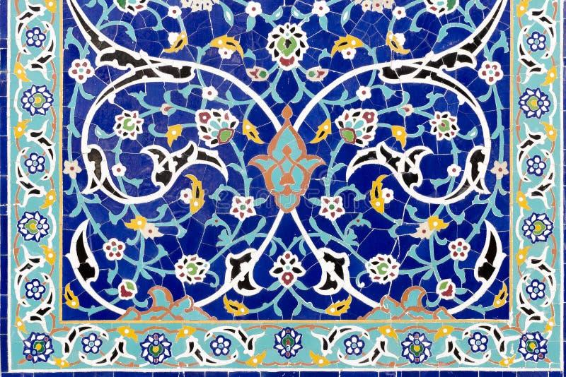 Ram av blom- keramisk garnering Färgrik mosaiktapet royaltyfri bild