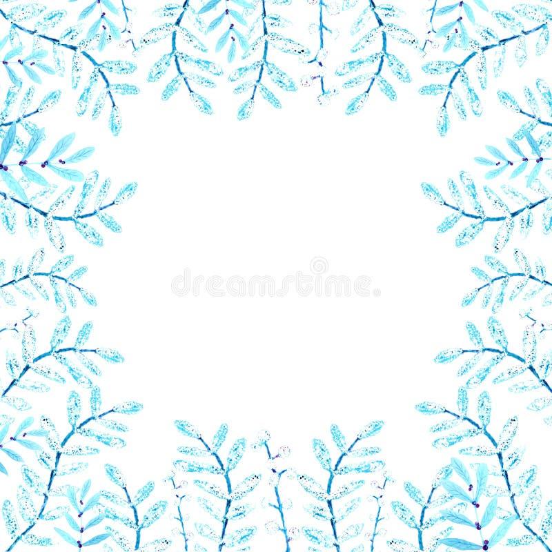 Ram av blommor och ris Vattenf?rgteckning, en modell av sidor, p? en vit bakgrund f?r designen av inbjudningar stock illustrationer