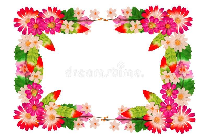 Ram av blommor som göras av färgrikt papper royaltyfria bilder