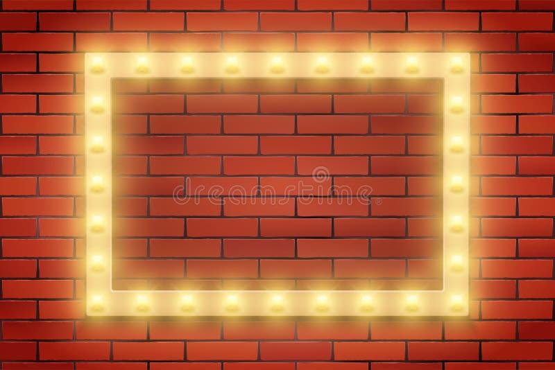 Ram av den Retro ljusa kulan på tegelstenväggen royaltyfri illustrationer
