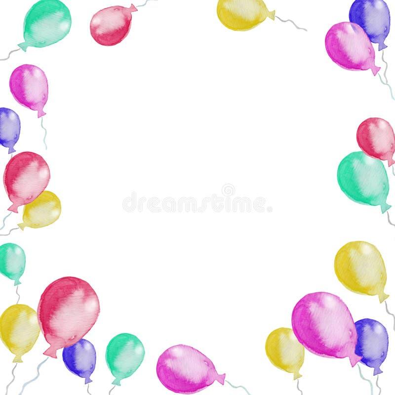 Ram av färgrika ballonger för flygillustration för näbb dekorativ bild dess paper stycksvalavattenfärg stock illustrationer