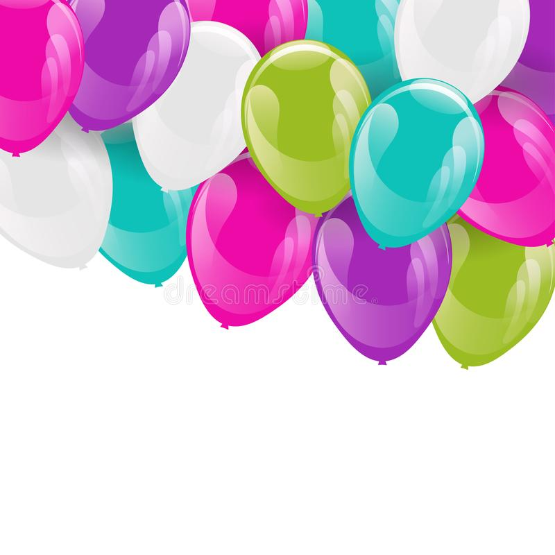 Ram av färgrika heliumballonger royaltyfri illustrationer