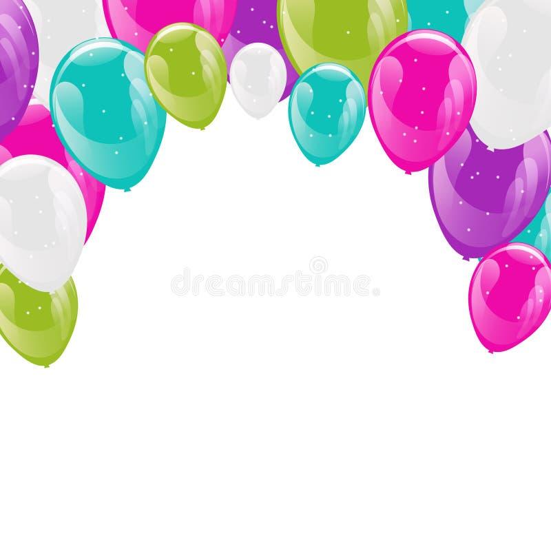 Ram av färgrika mousserande heliumballonger vektor illustrationer