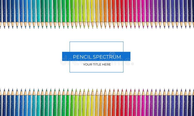 Ram av färgspektret från blyertspennor på en vit bakgrund royaltyfri illustrationer