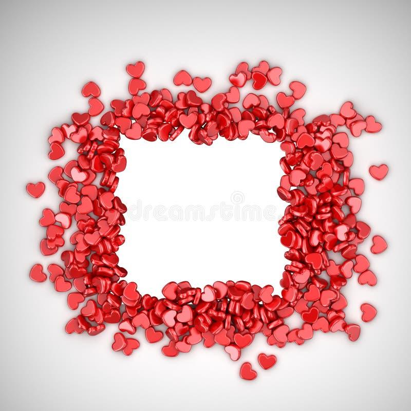 Ram av förälskelsehjärtor 3D Valentindag, stock illustrationer
