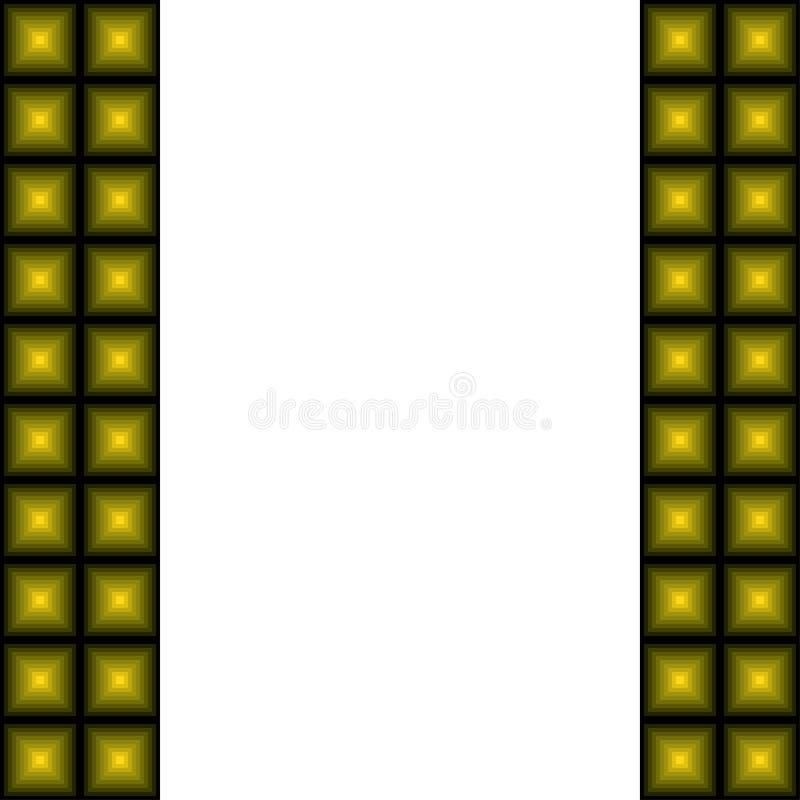Ram av geometriska former Guling-gr?splan fyrkanter i formen av pyramider royaltyfri illustrationer