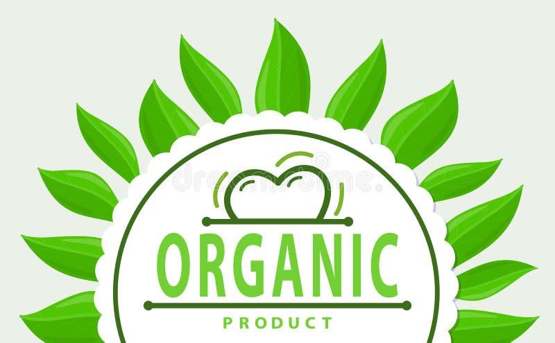 Ram av gröna sidor och den organiska produktlogoen vektor illustrationer