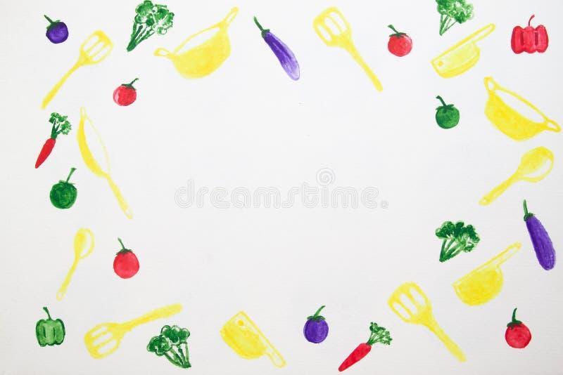 Ram av grönsaker och kökhjälpmedel, akvarellmålning på w royaltyfria foton